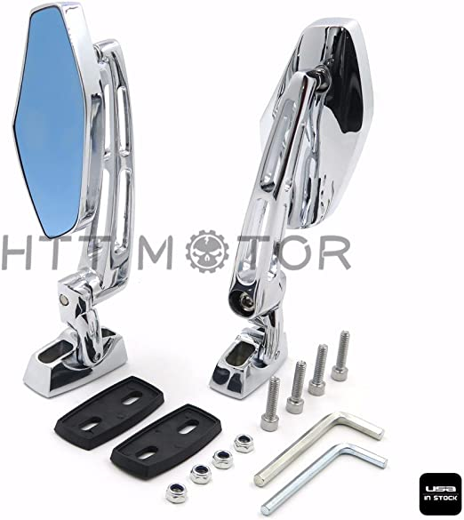 OKSTNO Custom Chrome Adjustable Base Motorcycle Mirrors Rearview Side Mirror Fit For Suzuki Hayabusa GSX1300R 99-12