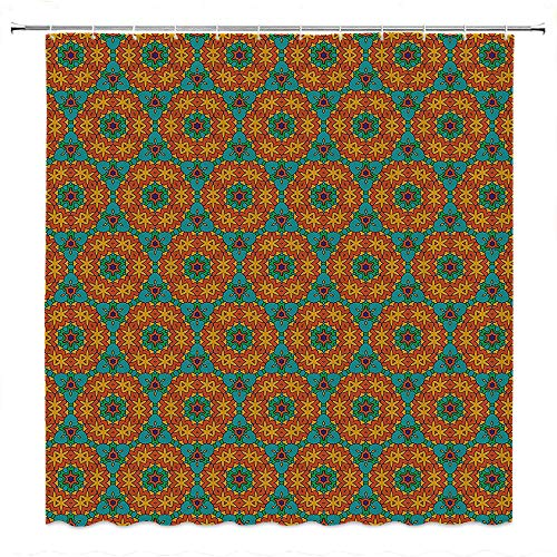 SATVSHOP Basics-Shower-Curtain-with-Hooks-(Treated-to-Resist-Deterioration-by-Mildew)-Orange-Kaleidoscope-Florals-Inspired-Image-for-Kitchen-Fern-Green-Marigold-and-Navy-Blue.W48-x-L72-inch