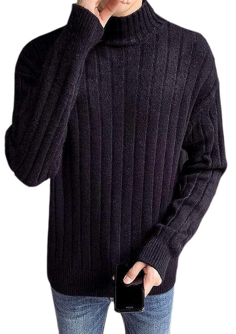 WSPLYSPJY Mens Winter Knitwear Pullover Casual Mock Turtle Neck Long Sleeve Jumper Sweaters