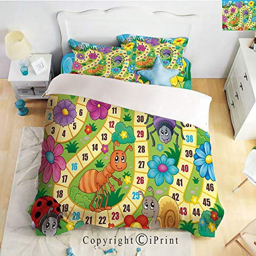 Homenon Bedding 4 Piece Sheet Set,deep Pocket Fitted Sheet,Flat Sheet,2 Pillow Cases,Various Kinds of Animals Bee Butterfly Ant Ladybug Kids Theme Spring Meadow Decorative,Multicolor,Twin Size