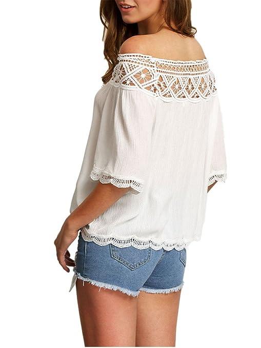 Minetom Blusa Camiseta Casual Elegante Hueco Cuello Campesino Barco Manga Corta para Mujer: Amazon.es: Ropa y accesorios