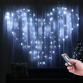 Rideaux Lumineux En Forme de Cœur, Qedertek 124 LED Guirlande Lumineuse  Coeur Blanc Froid 2m x 1.5m 8 Modes Guirlande Intérieure pour Mariage, ...