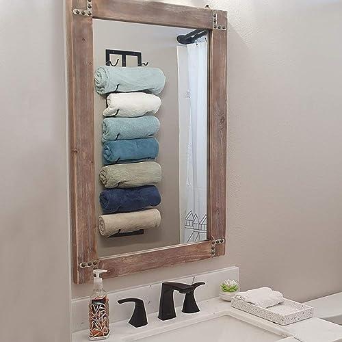 Womio Rustic Bathroom Mirrors for Wall,24 x 36 Wood Frame Hanging Decorative Wall Mirror Vanity Mirror Makeup Mirror