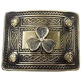 AAR Scottish Kilt Belt Buckle Celtic Studs with Irish Shamrock badge Antique Plated