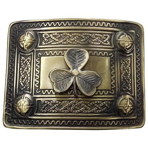 AAR Scottish Kilt Belt Buckle Celtic Studs with Irish Shamrock badge Antique - Irish Belt