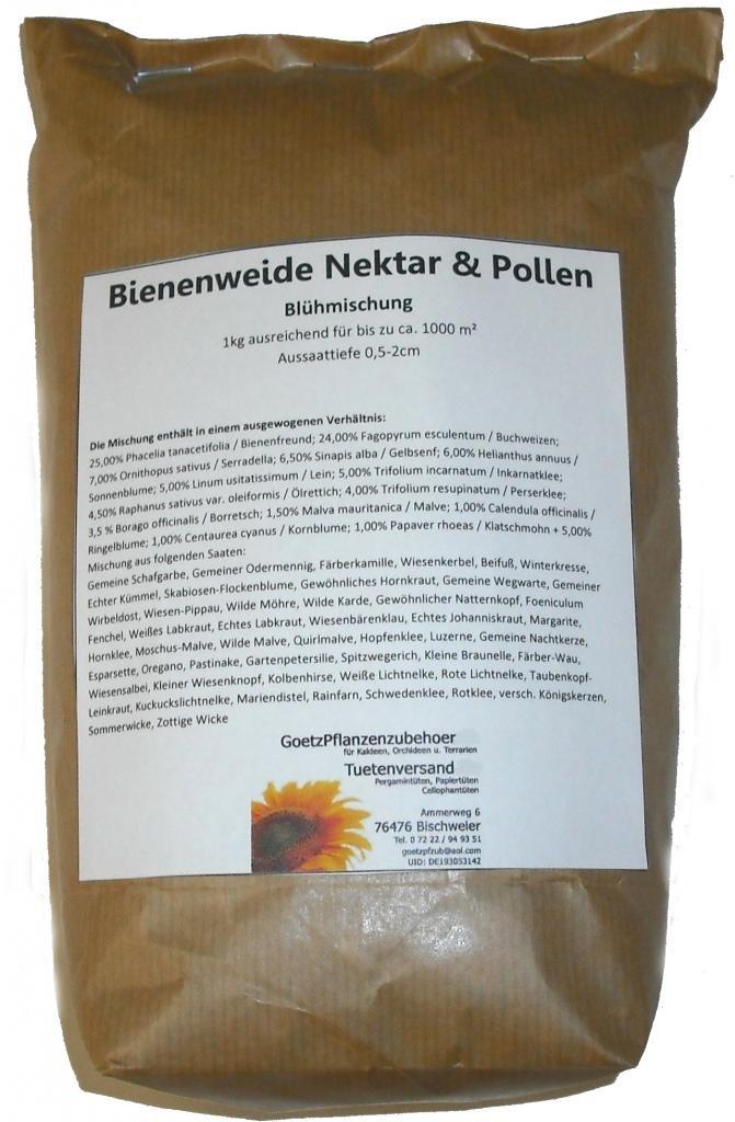 7kg Bienenweide Nektar & Pollen Blühmischung Blumenmischung für bis zu 7000m²