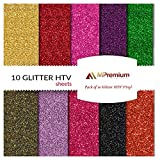 vinal cutting machine - MiPremium PU Heat Transfer Vinyl, HTV Iron On Vinyl Starter Pack, Combo BUNDLE Kit Of Heat Press Vinyl in 10 Most Popular Glitter Colors, Easy Cut, Weed & Press (GLITTER X 10)
