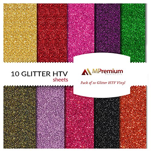 MiPremium PU Heat Transfer Vinyl - Iron On Vinyl Starter Pack, Assorted HTV Glitter Bundle Kit of Heat Press Vinyl in 10 Most Popular Colors, Easy to Cut & Press Glitter HTV Vinyl (Glitter X 10)