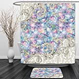 Vipsung Shower Curtain And Ground MatOrnaments Hydrangeas Romantic Flowers with Cream Color Baroque for Her Special Collection Art Nouveau Design Decor Lilac and Pink TonesShower Curtain Set with Bath