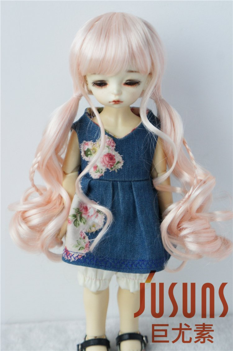JD337 6-7inch 16-18CM Pony Braids BJD Doll Wigs 1/6 YOSD Synthetic Mohair Doll Accessories 4 Colors Available (Pink)