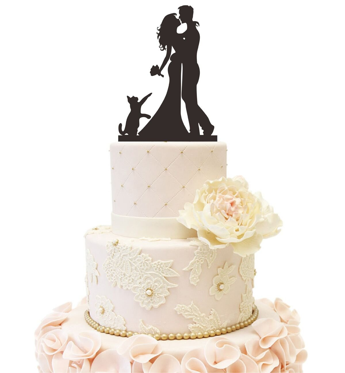 Uniquemystyle Glitter Silver Wedding Anniverary Family Cake Topper Bride Groom with One Dog A Dog
