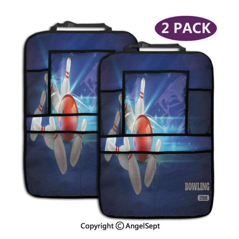 Storage Pockets Seat Back Protectors,Bowling Strike Red Ball and Classical Pins Vivid Composition Red Aqua Blue,19.3x27.2inch,Travel Accessories for Toddlers Toys(2 Pack) by RWNFA