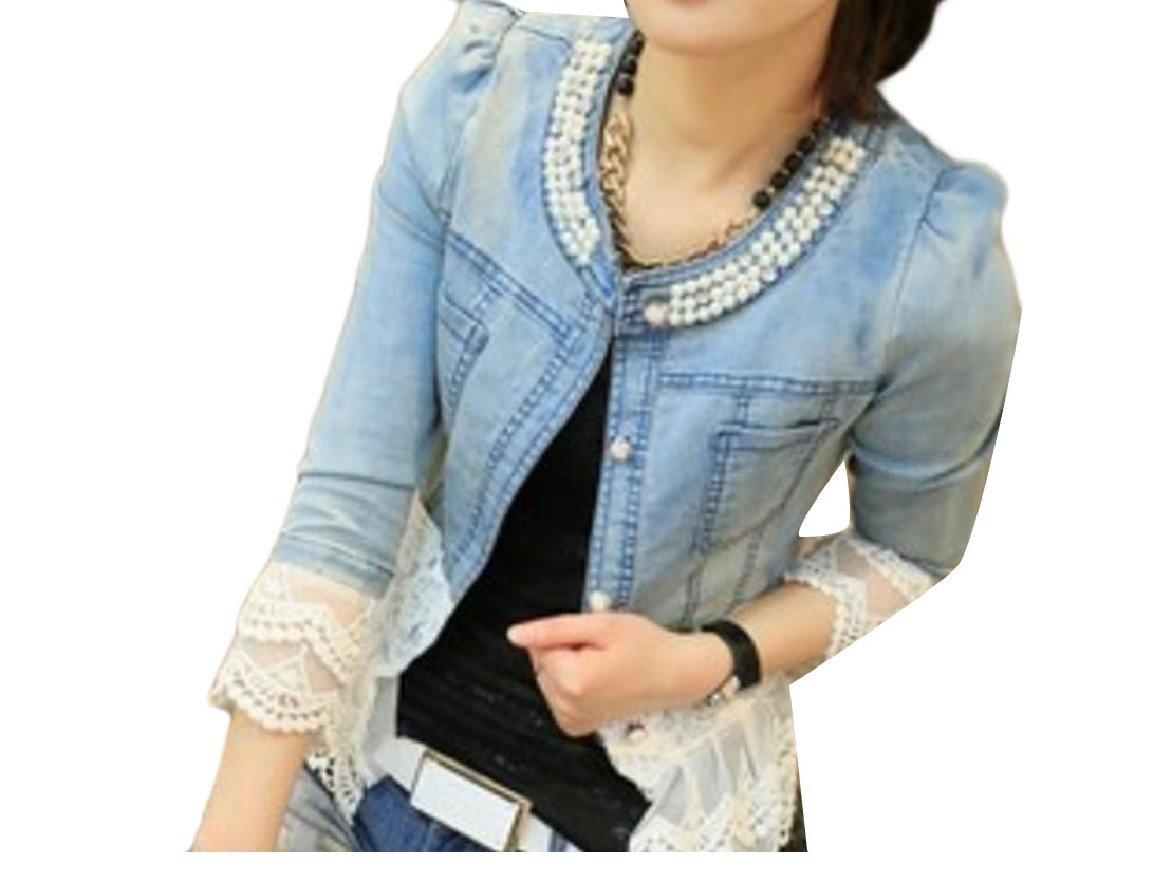 Winwinus Womens Bead Long Sleeve Cowboy Plus-Size Lace Hem Comfy Topcoat Denim Jacket 2XL