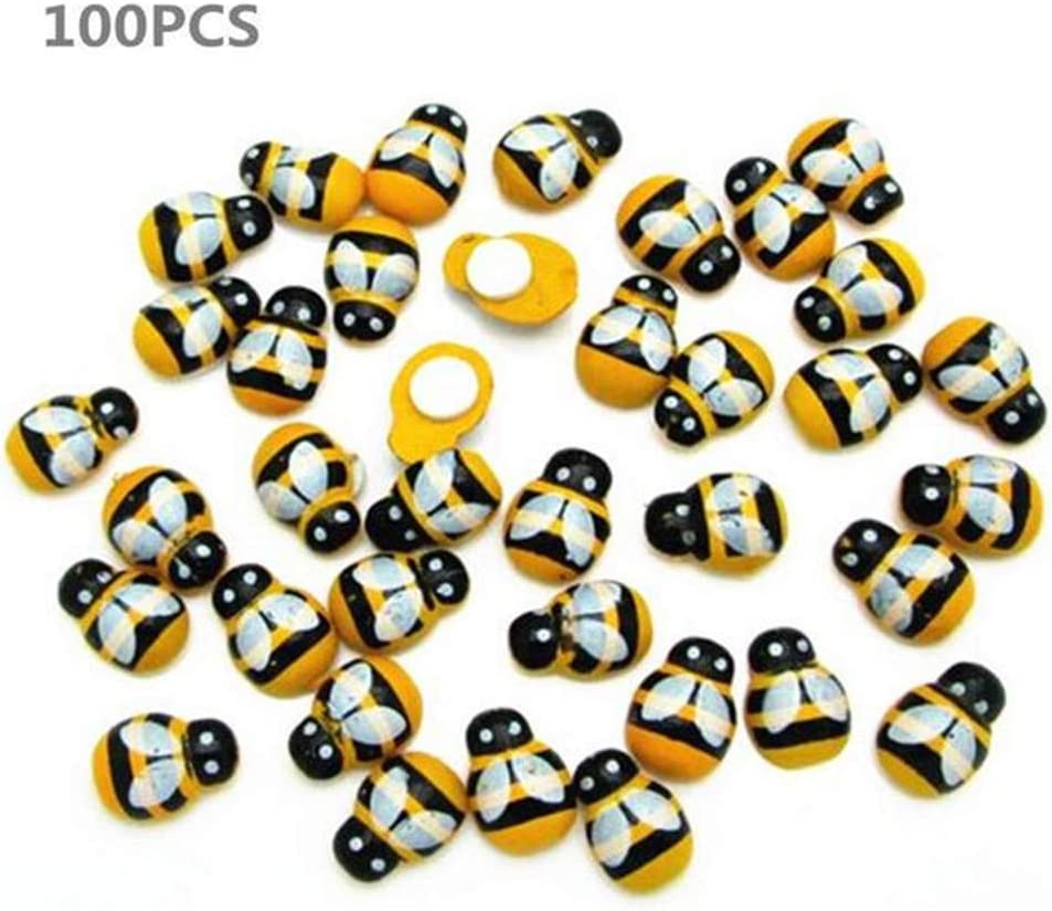 100pcs Wooden Ladybug Self Adhesive Flatback Embellishment Ladybirds Craft Card Wood Toppers for DIY Scrapbooking Decoration