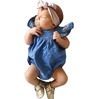 1c3ac2f2c74 Sunbona Infant Newborn Baby Girls Fly Sleeve Denim Embroider Romper  Jumpsuit Pajamas Summer Outfits Clothes