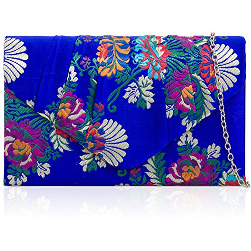 Clutch Ball Floral Blue Satin Xardi Ladies with Embroidery Party London Chain Evening Ruched Bridesmaid Bag Royal Women Strap Wedding Bridal Prom xxp0R