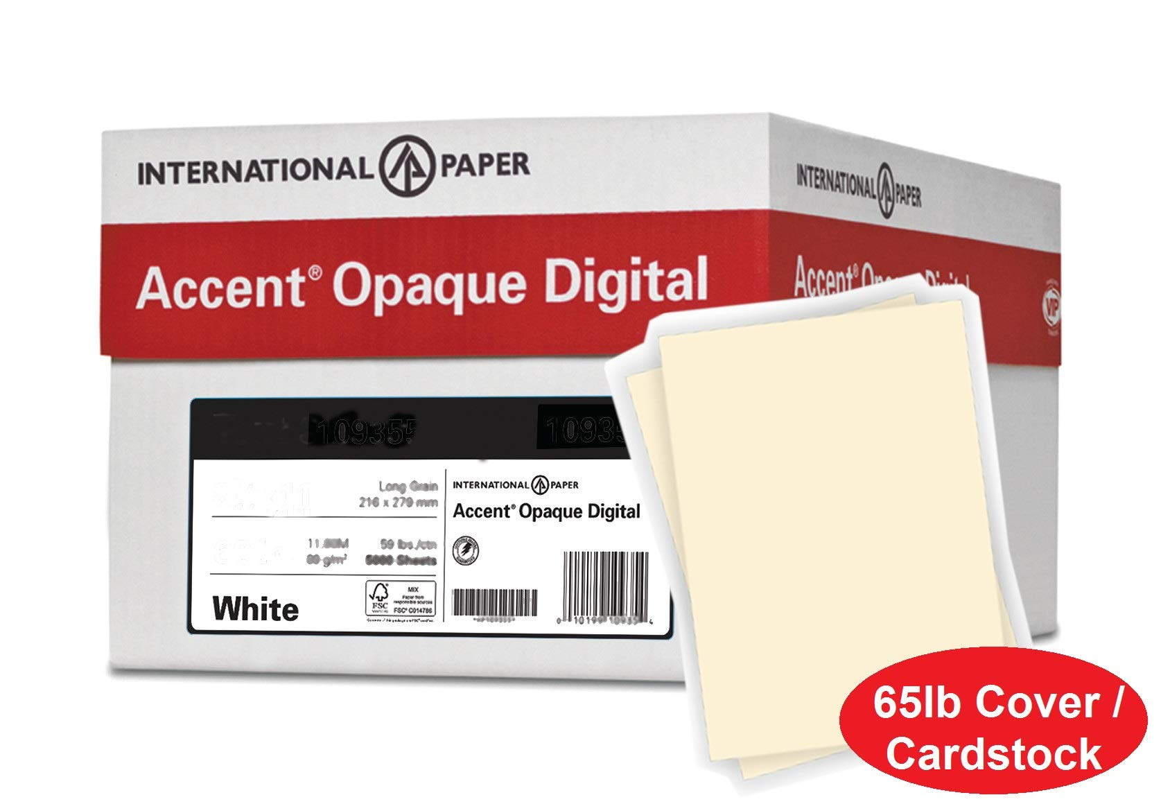Accent Opaque Thick Cardstock Paper, Warm White Paper, 65lb Cover, 176 gsm, Letter Size, 8.5 x 11 Paper, 97 Bright, 10 Ream Case / 2,500 Sheets, Super Smooth, Heavy Card Stock (121972C) by Accent