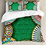 Ambesonne Moroccan Duvet Cover Set, Oriental Motif with Mix of Hippie Retro Circle Morocco Mosaic Lines Sacred Holy Design, 3 Piece Bedding Set with Pillow Shams, Queen/Full, Multi