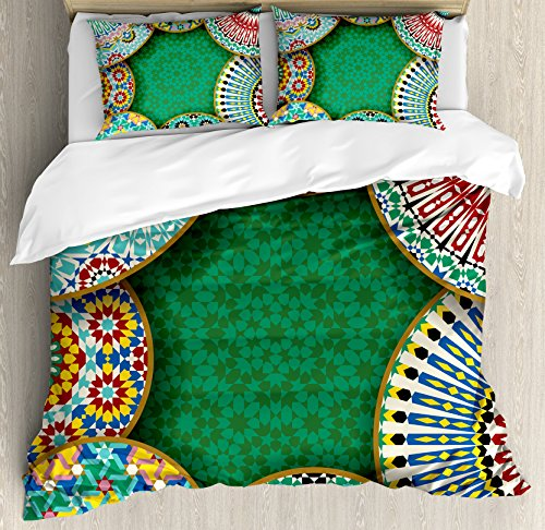 Ambesonne Moroccan Duvet Cover Set, Oriental Motif with Mix of Hippie Retro Circle Morocco Mosaic Lines Sacred Holy Design, 3 Piece Bedding Set with Pillow Shams, Queen/Full, Multi by Ambesonne