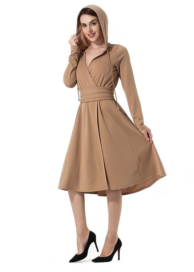 La Vogue Womens Hoodie Long Sleeve Drawstring Waistband A-line Midi Work Dress: Amazon.co.uk: Clothing