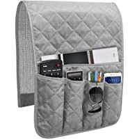 Godery Non-Slip Sofa Couch Armrest Organizer, TV Remote Control Holder, Armchair Caddy for Phone, Books, Magazines (Grey…