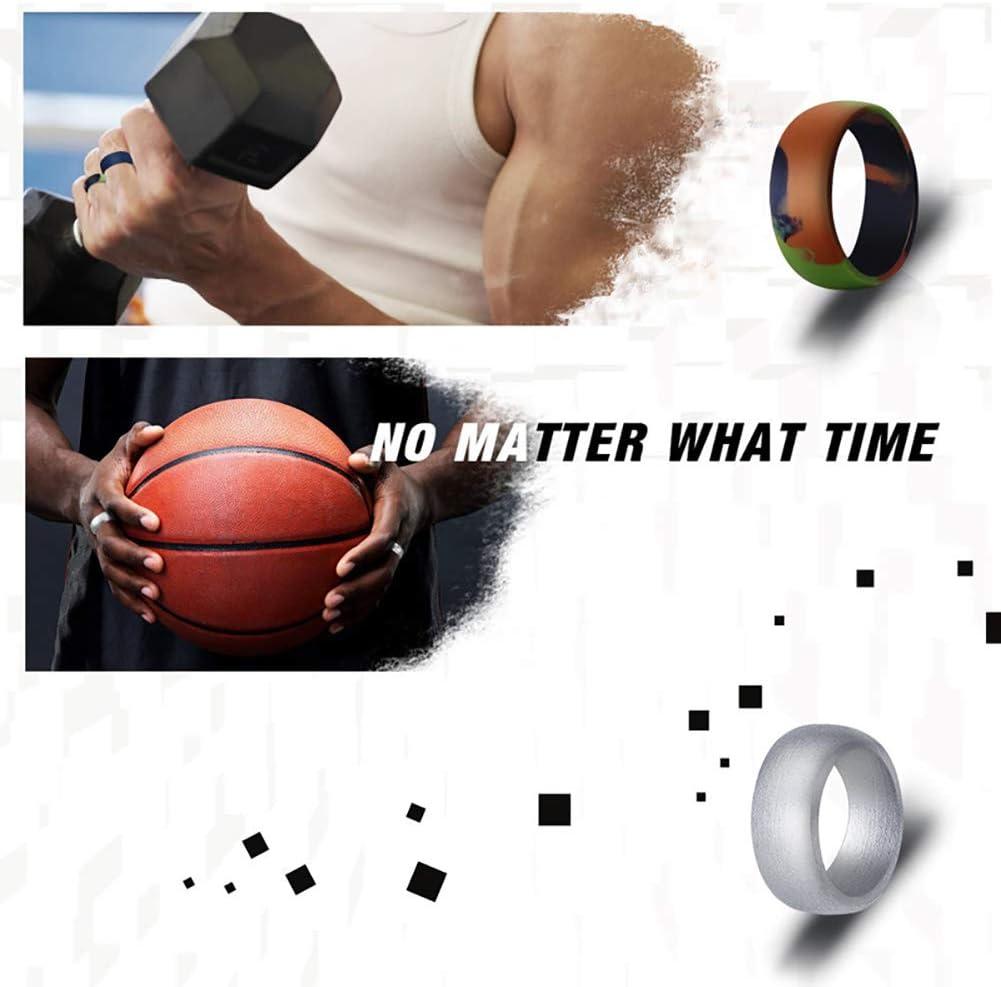 periwinkLuQ 10 St/ück Herren Fashion Outdoor Sport Gym Radian Style Silikon Ring Band Dekor