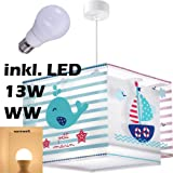 led warmwei 1050lm 43423 kinderlampe k ste deckenlampe segelschiff wahl leuchtturm lampe. Black Bedroom Furniture Sets. Home Design Ideas
