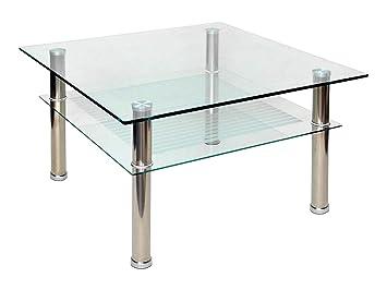 ts-ideen - Mesa auxiliar (cristal y acero inoxidable, 80 x 80 cm, vidrio templado de 10 mm)