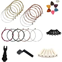 MUKEZON 3 Sets of 6 Acoustic Guitar Strings Including Red、Yellow and Multicolour,Attached Gifts Including Strings Winder, Pin Puller, Plastic Bridge Pins and Guitar Picks by (BLACK)