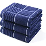 Anyi Kitchen Dish Towels Heavy Duty Absorbent Dish Clothes with Hanging Loop 100% Cotton Tea Bar Towels (16x26, Set of 3, Navy)