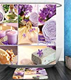 Beshowereb Bath Suit: Showercurtain Bathrug Bathtowel Handtowel Spa Decor Lavender Themed Relaxing Joyful Spa day with Aromatherapy Oils and Candles Purple and White