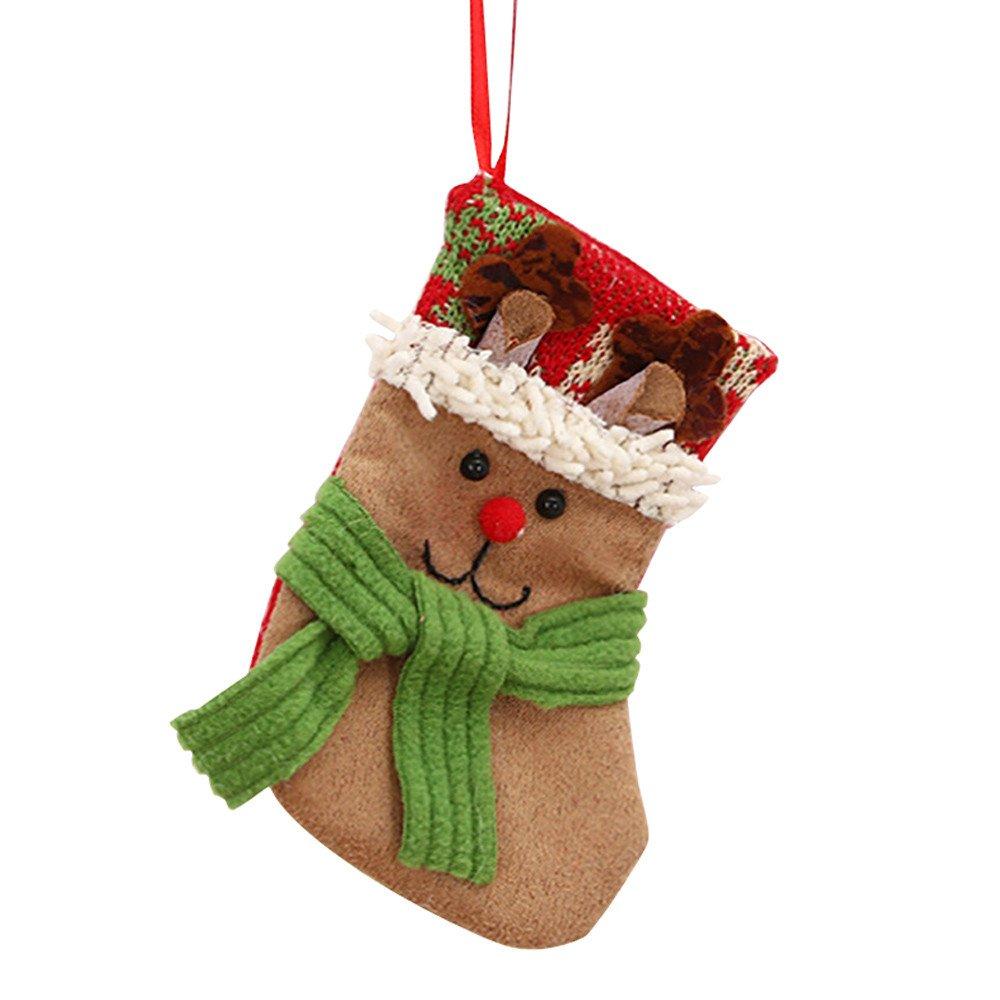 WeiYun Bag Santa Claus Snowman Elk Xmas Decoration Ornament Sock Decors
