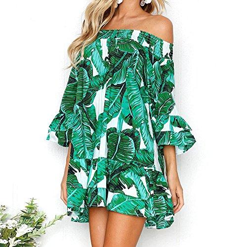 Prom Fuera Mujer Impresión del Hombro Casual Verano de Verde la Vestidos Mangas para Boda para Fiesta Vestir Playa Moda Ceremonia Sexy Evening Volantes Mitad Cóctel de Elegante de Mini g6O6nx