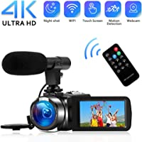 "4K Camcorder Digital Video Camera WiFi Vlogging Camera Camcorders with Microphone Full HD 1080P 30FPS 3"" HD Touch Screen Vlog Camera for YouTube with IR Night Vision and Remote Control"