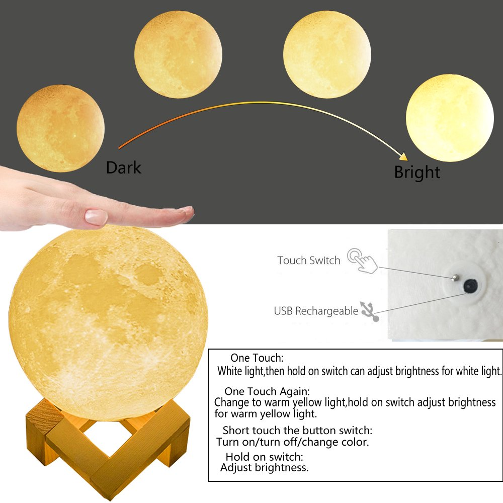 Night Light Lighting LED 3D Printing Warm Moon Lamp Touch Control Brightness Gift-case (3.9 Inch)