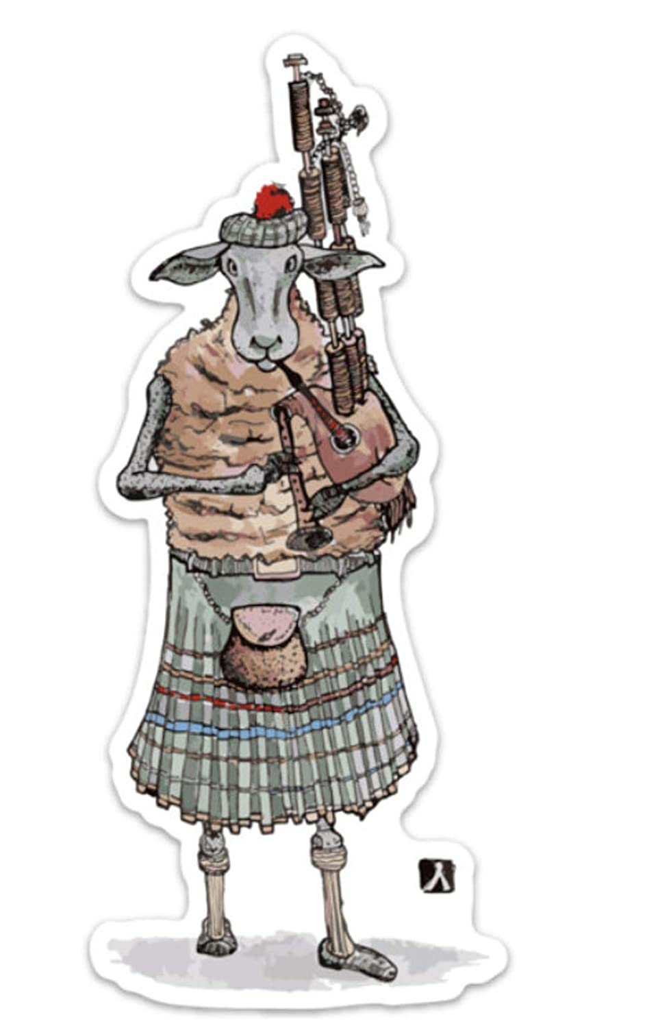 BellavanceInk Highland Sheep Playing the Bagpipes Vinyl Sticker Pen and Ink Illustration