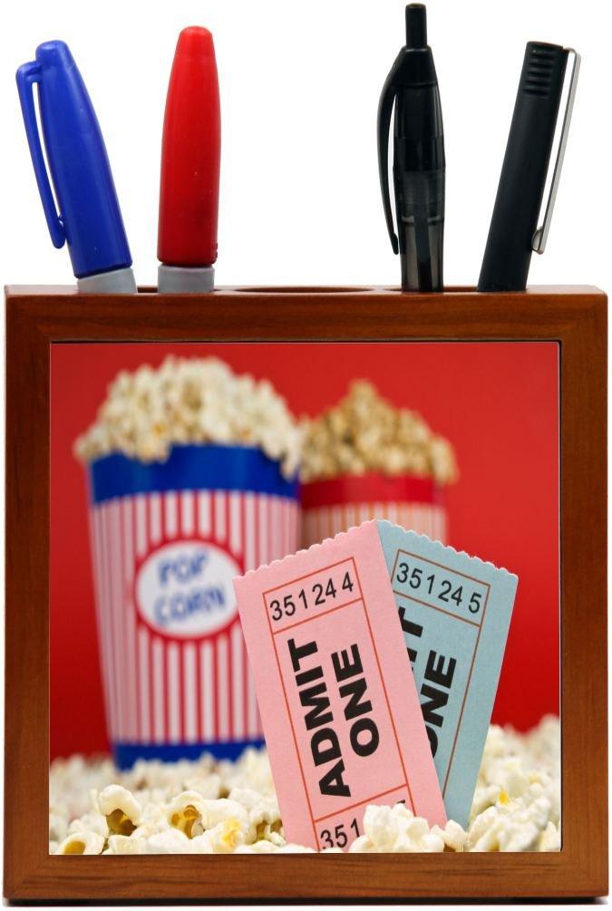 Rikki Knight Movie Stubs and Popcorn Design Inch Tile Wooden Tile Pen Holder