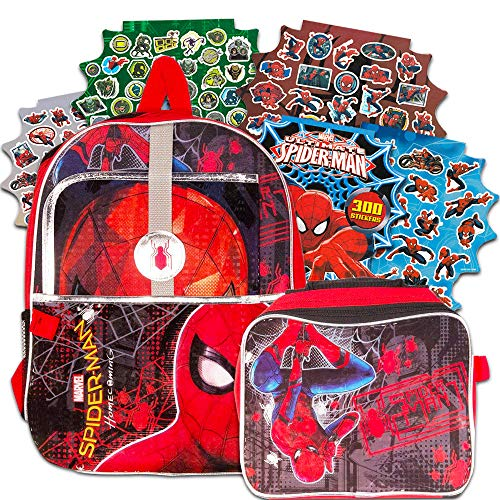 Spiderman Backpack and Lunch Box for Boys Kids, 4 Pc Set - Bundle Includes Deluxe Spider-man Backpack, Insulated Lunchbox, Folder, Stickers (Spiderman School Supplies)
