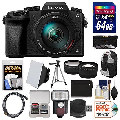 Panasonic Lumix DMC-G7 4K Wi-Fi Digital Camera & 14-140mm Lens with 64GB Card + Case + Flash + Battery + Tripod + Tele/Wide Lens Kit by Panasonic