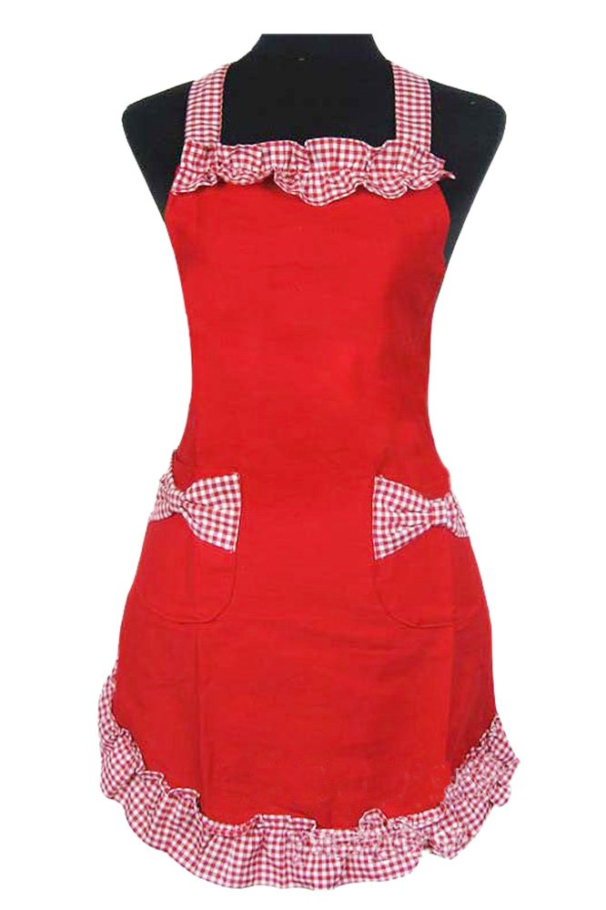 Elisona®Women Ladies Kitchen Cooking Housework Grid Pattern Ruffled Cotton Aprons with Bow Style Pockets Style 1