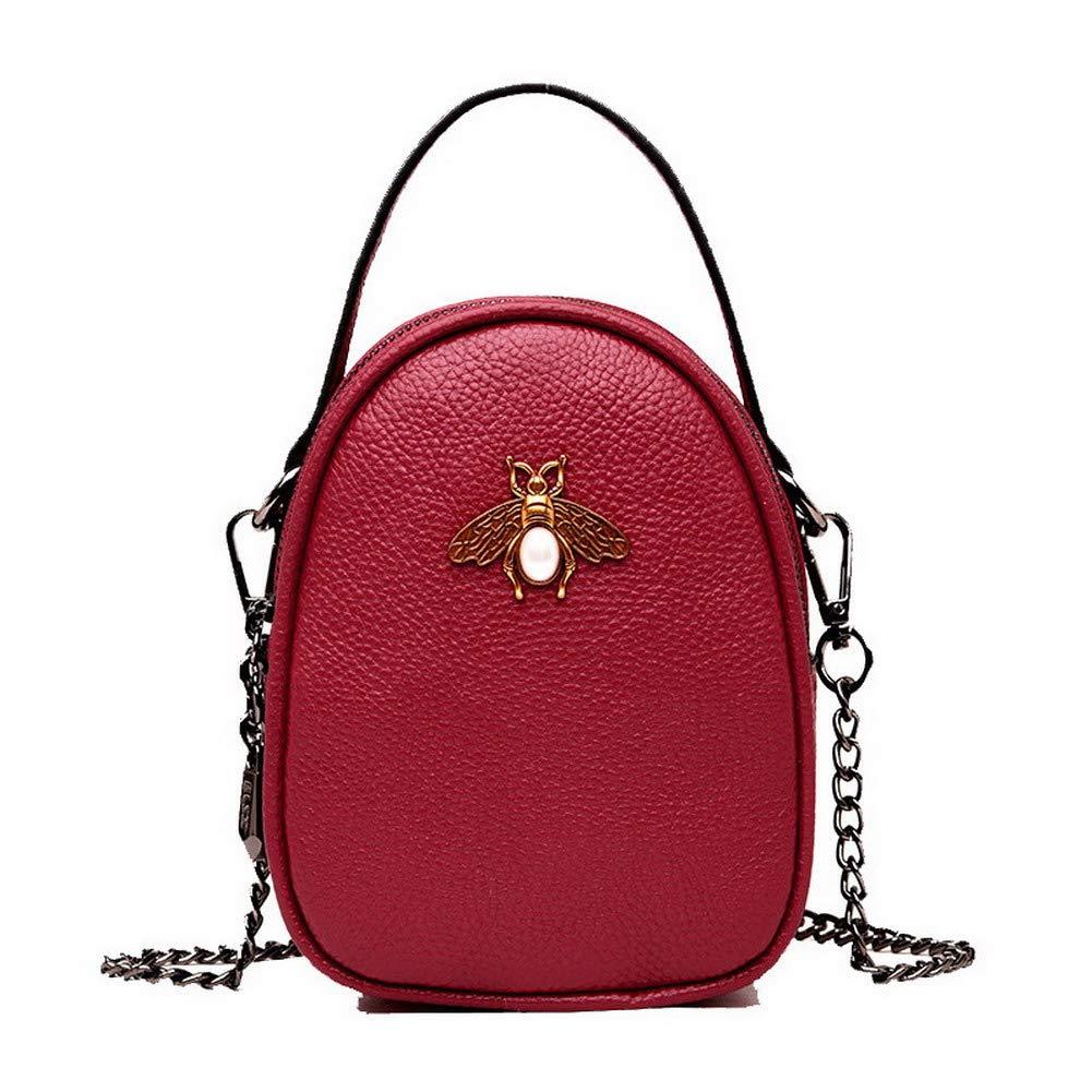 Claret WeiPoot Women's Fashion Tote Bags Pu Ornamented Crossbody Bags,EGHBG182544