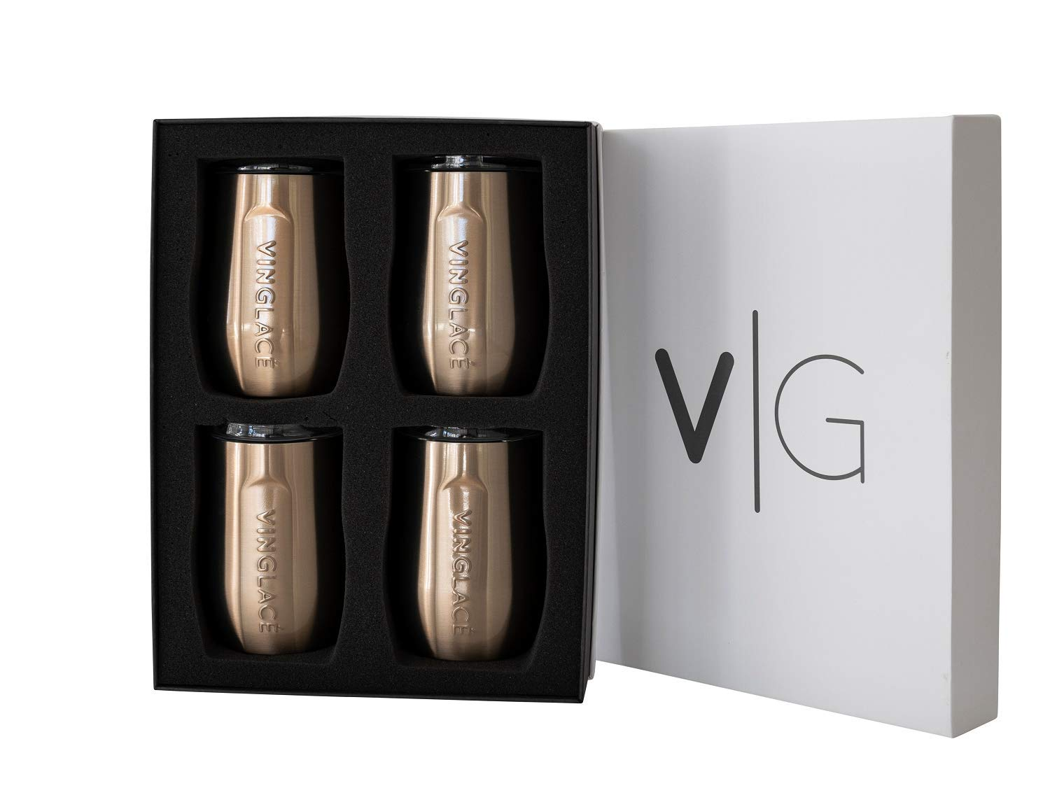 Vinglacé Stemless Wine Glass   Stainless Steel Outside, Glass Inside   Includes Spill Proof Lid   Double Walled, Vacuum Insulated   For Hot & Cold Beverage   Holds up to 10 oz   Set of 4   Copper