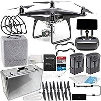 DJI Phantom 4 PRO+ PLUS Obsidian Edition Drone Quadcopter Includes Display (Black) Essentials Aluminum Carrying Case Bundle