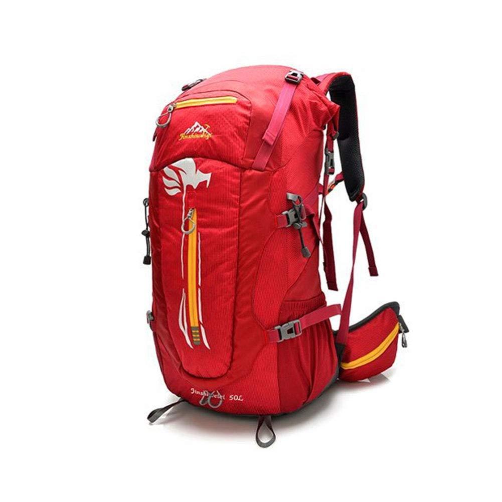 アウトドアバックパック、50L 軽量耐水リュックサックファッションカジュアルユニセックスポータブルデイパックキャンプハイキングサイクリングパック,Red,31*71*20cm 31*71*20cm Red B07LBSBYCB