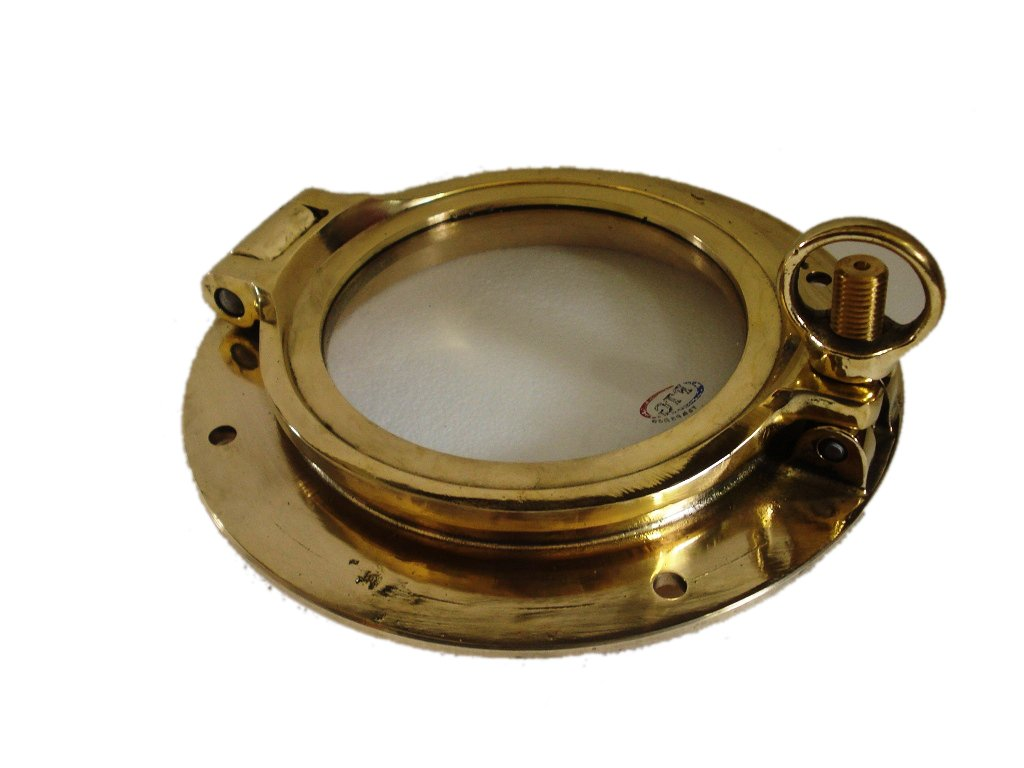 Marine Brass Port Hole / Window / Porthole - 6'' Glass - 100% Satisfaction - Nautical / Boat / Maritime