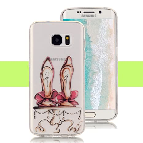 Yunbaozi Funda Samsung Galaxy S7 Carcasa Silicona Suave Tacones Altos Rojos