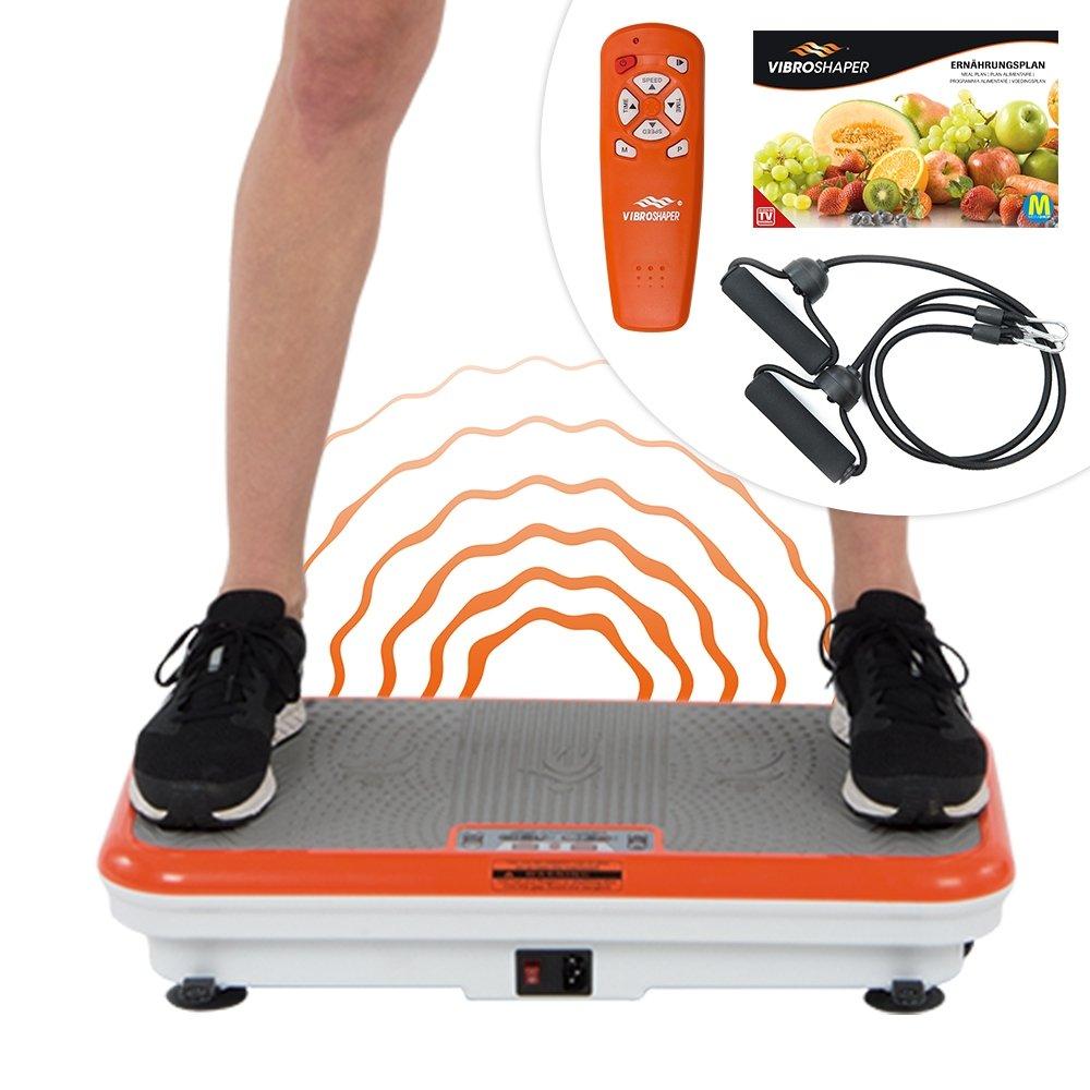 Mediashop Vibro Shaper Vibrationsplatte Ganzkörper Trainingsgerät Rutschfest große Fläche inkl Trainingsbänder Ernährungsplan