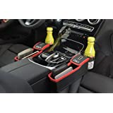 niceEshop(TM) Console Side Pocket, Leather Car Seat Gap Catcher with Coin Organizer and Cup Holder, Black and Red, 1Pcs, Left