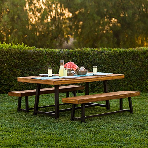 (Best Choice Products 3 Piece Acacia Wood Picnic Style Outdoor Dining Table Furniture)