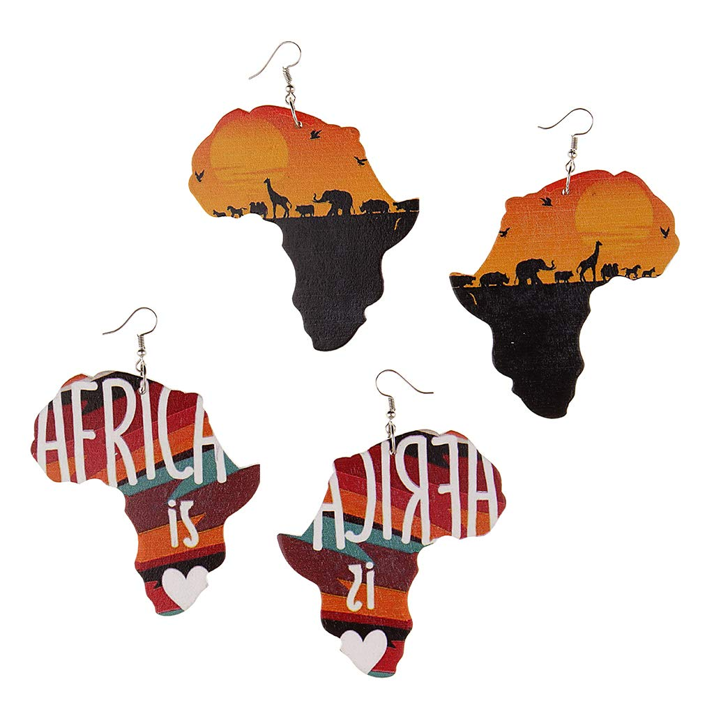 Prettyia 2 Pairs Africa Map Stud Natural Wood Tribal Ethical Dangle Earring for Women
